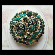 Juliana D&E Green Floral Carved Glass Rhinestone Pin Brooch