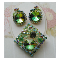 Juliana D&E Green Rhinestone and watermelon Rivoli Pin and Earrings