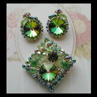 Juliana D&E Green Rhinestone and watermelon Rivoli Pin and Earrings
