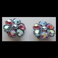 Yves St Laurent YSL for Carnegie Heart Rhinestone Earrings