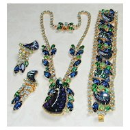 Magnificent Blue Green Reverse Carved Glass Rhinestone Parure