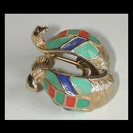 Signed Hattie Carnegie Egyptian Cobra Earrings