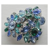 WEISS Blue and Green Rhinestone  Floral Pin
