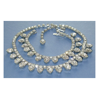 WEISS Heart Shaped Rhinestone Bracelet and Necklace Demi Parure