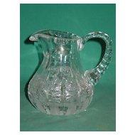 Antique Cut Glass Cream Pitcher Jug Creamer Thumbprint Hobstar Beautiful