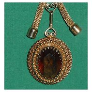Vintage Sarah Coventry Necklace Faceted Topaz Glass Stone Pendant