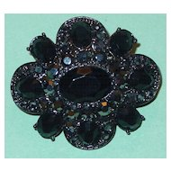 Liz Claiborne Brooch Black and Silver Rhinestone LC Designer Signed