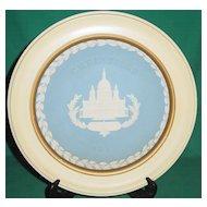 Vintage Wedgwood Jasperware Christmas Plate 1972 Saint Paul Cathedral with Wood Frame