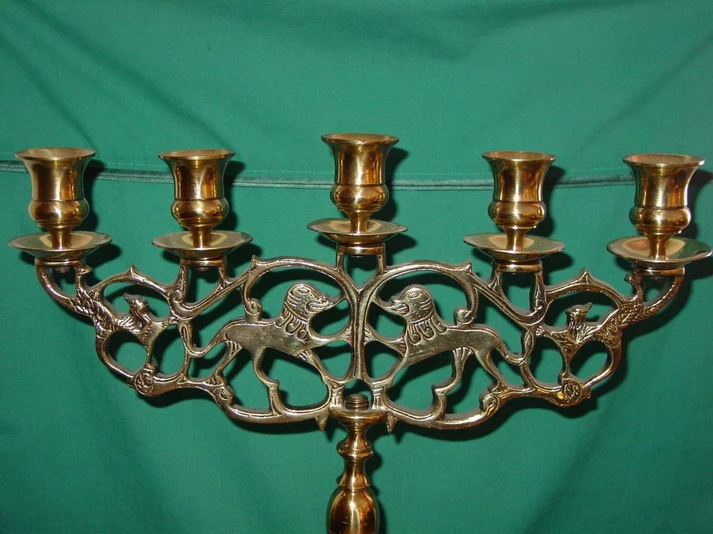 Antique Brass Candelabrum Lion Of Judea Sabbath Candelabra