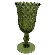 Westmoreland Glass Vase Green Sawtooth Diamond Point Tall Footed Celery