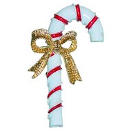 Vintage Christmas Brooch Candy Cane  Pin Corel Red and White Enamel