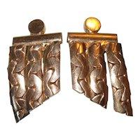 Vintage Coro Earrings Clip On Serpentine Chain
