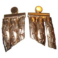Vintage Coro Earrings Clip On Serpentine Chain