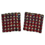 Vintage Cufflinks Ruby Red Rhinestone Square 1961 Fabulous