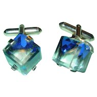 Vintage Cufflinks Faceted Rock Crystal Cube Gold Tone Setting Signed