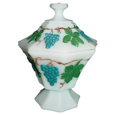 Vintage Anchor Hocking Milk Glass Covered Octagon Dish 1960's Hand Painted Grape