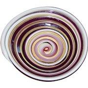 Vintage Murano Venetian Art Glass Cane Swirl Bowl Unique