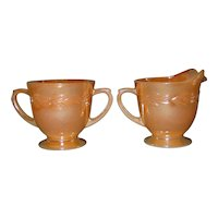 Fire King Peach Lustre Open Sugar and Creamer Pitcher Set 1950s Anchor Hocking Laurel Luster Pattern