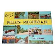 Vintage Linen Postcard Jumbo Post Card Michigan 1950's Chris Craft Boat New Old Stock