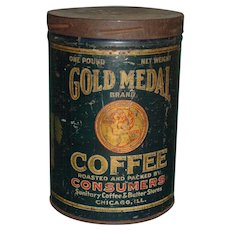 Vintage Gold Medal Coffee Tin Can Tin Lithograph Advertising 1920's Sanitary Coffee and Butter Stores