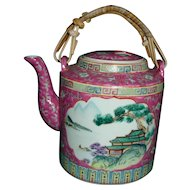 Vintage Chinese Enamel Teapot Zhongguo Chao Cai  Hand Painted Tea Pot Kettle Rose