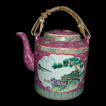 Vintage Chinese Enamel Teapot Zhongguo Chao Cai  Hand Painted Tea Pot Kettle Rose