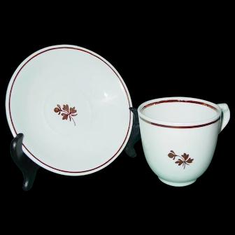 Antique Alfred Meakin Copper Tea Leaf Cup & Saucer Ironstone