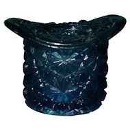 Vintage Fenton Glass Daisy and Button Cobalt Blue Top Hat Toothpick Holder