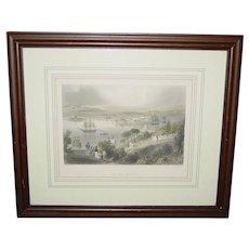 Antique Steel Engraving The Cove of Cork Artist W. H. Barlett ca. 1840 R. Wallis