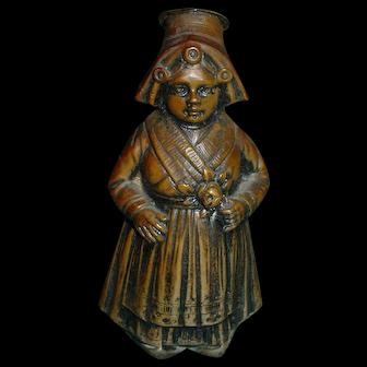 800 Silver Dutch Girl Vintage Figural Woman Salt Shaker Bronzed