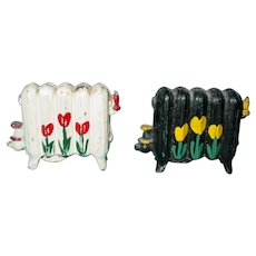 Vintage Cast Iron Salt & Pepper Shakers Hand Painted Miniature Radiator