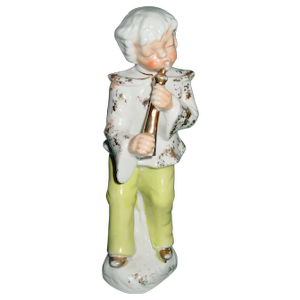 Sevres Figurine Latache Gilding France Boy with Horn
