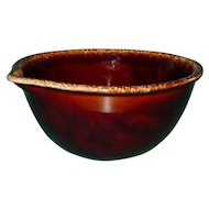 Vintage Hull Pottery Batter Bowl 8 Inch Made in the USA Brown Drip with Spout