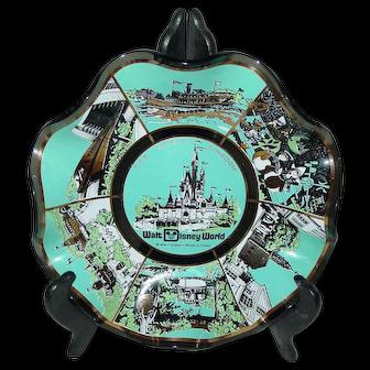 Vintage Walt Disney World Art Glass Bowl Trinket Candy Dish The Magic Kingdom Souvenir