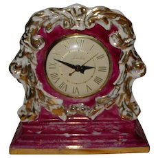 Vintage Lanshire Mantel Clock Porcelain China 1948 Gold Trim