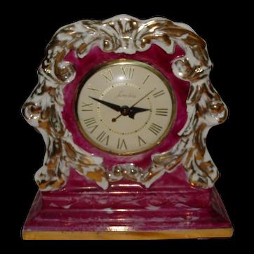 Vintage Lanshire Mantel Clock Porcelain China 1948 Gold Trim