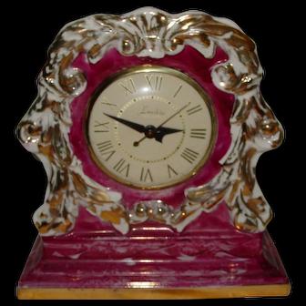 Vintage Lanshire Mantle Clock Porcelain China 1948 Gold Trim