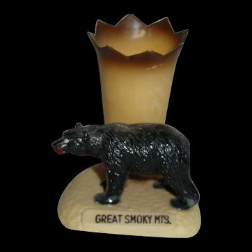 Vintage Great Smoky Mountains Souvenir Black Bear Toothpick Holder Hong Kong