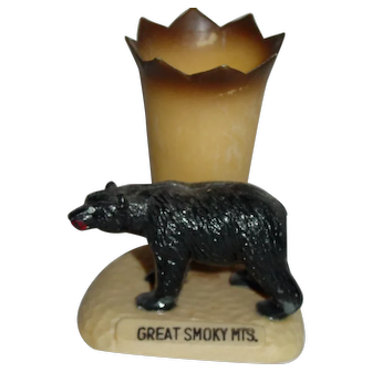 Vintage Great Smoky Mountains Souvenir Black Bear Toothpick Holder Hong Kong