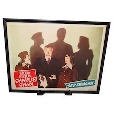 Original Lobby Card 1949 Charlie Chan The Sky Dragon Framed Authentic