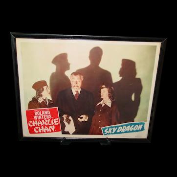 Original Lobby Card 1949 Charlie Chan The Sky Dragon Framed Authentic