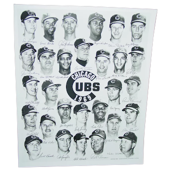 Vintage 1969 Chicago Cubs Team Photo Autographed in Photo Original Team Issue