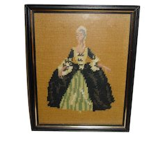 Vintage Needlepoint Victorian Lady Finished Petit Point Framed under Glass