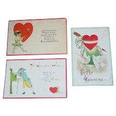 Antique Valentines Three Postcards 1913 and 1916 S. Bergman