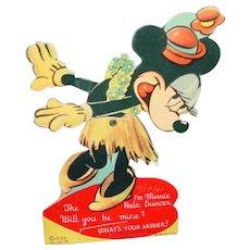 Vintage 1939 Walt Disney Productions Mechanical Valentine Minnie Mouse Hula Girl