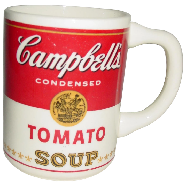 a4b1f4a2765 Vintage Campbell's Soup McCoy Mug Tomato Can Advertising 1960's Pottery