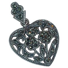 Vintage Sterling Silver 925 Marcasite Gemstone Heart Pendant Flower Bouquet