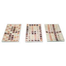 Vintage 3 Tile Trays Mid Century Modern Mosaic Ceramic Trinket Key