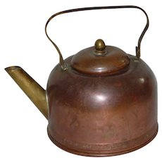 Copper and Brass Early Teapot Kettle Marked