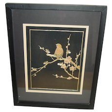 Vintage Straw Art Chinese Bamboo on Silk Bird Framed with Glass